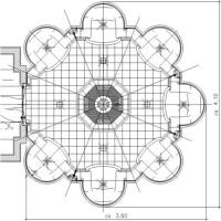 Dampfbad Grundriss Cocon als Version mit vier Sitzplätzen und zentralem Brunnen als Mittelelement mit Dampfauslaß