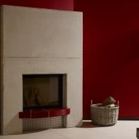 moderner Kamin in Hilpert Ausstellung mit Rüegg Jade-Einsatz