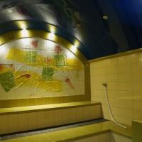 Dampfbad Vierordtbad Karlsruhe Hilpert Keramik mit Majolika Wandbild von Wolfgang Thiel