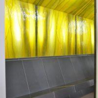 Dampfbad Bank mit Sitzbank - freitragend mit Ornamentglas (3D) / Beleuchtung (hinterleuchtet) - Keramik, Glas Rückwand