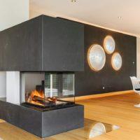 Design Kamin Raumtrenner Wohnzimmer Esszimmer Essen