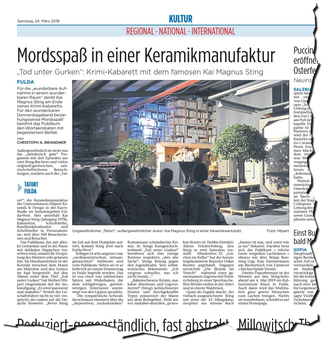 """Artikel in der Fuldaer Zeitung: """"Mordsspass in einer Keramikmanufaktur"""" über unserern Tatort-Fulda 2018 mit Kai Magnus Sting."""