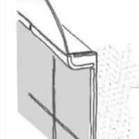 """Decken-anschluß""""] Abgerundetes Keramikprofil an der Rückwand als Übergang von der Wandverkleidung zur Decke."""