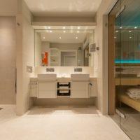 Privat Spa KOC Wellness Sauna Wohnbad Designbad Waschtisch Doppelwaschtisch zuhause daheim LED Beleuchtung Licht