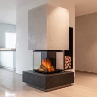 Kamin Designkamin grau anthrazit weiss Naturstein Putz Design modern und minimalistisch