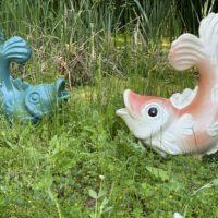 Brunnenfigur-Wasserspeier-Fisch-Keramik-Brunnen-Teich-See-Bachlauf-Garten